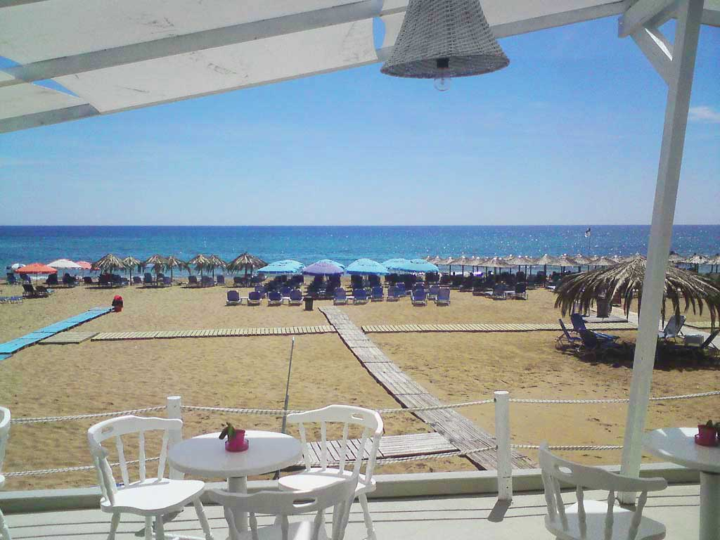 Corfu Beach Bars -  - Bright Blue Beach Bar Restautant Marathias Beach